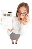 kvinna för skuldpengarproblem Arkivbilder
