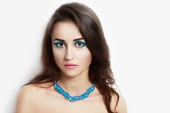 kvinna för smink för skönhetframsidamode Royaltyfri Foto