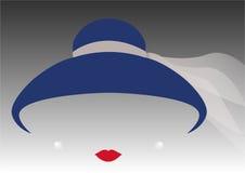 Kvinna för ståenderetrò, diva med hatten och pärlor, minsta Audrey illustration royaltyfri illustrationer