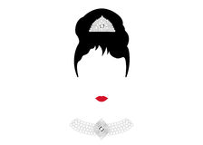Kvinna för ståenderetrò, diva med pärlemorfärg smycken, minsta Audrey illustration stock illustrationer