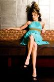 kvinna för stil för brunetthårmodell Royaltyfri Bild