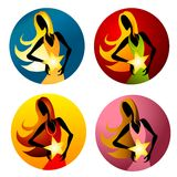 kvinna för stjärna för utmärkelseholdingsymboler royaltyfri illustrationer