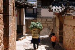 kvinna för sugrör för korgporslinshu Arkivfoton