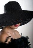 kvinna för svart hatt Arkivbild