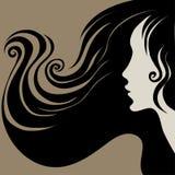 kvinna för tappning för dekorativt hår för closeup lång vektor illustrationer