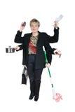 kvinna för tasking för affärsmom mång- royaltyfria foton
