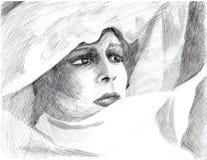 kvinna för teckningshandportret s Royaltyfri Foto