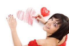 kvinna för teckningshjärtaform royaltyfria bilder