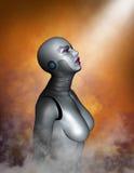 Kvinna för teknologi för CyborgAndroid robot Arkivbilder