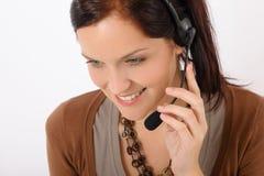 kvinna för telefontjänst för operatör för felanmälanskundhörlurar med mikrofon arkivfoton