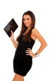 kvinna för touch för tablet för handholdingblock arkivfoton