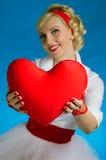 kvinna för valentin för daghjärta s Arkivfoto