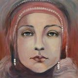 kvinna för vektor för framsidaingrepp s Moderna målningar Arkivbilder