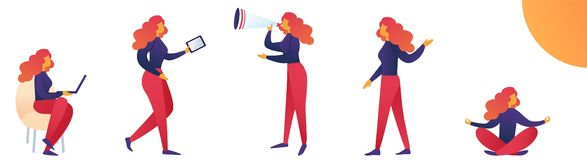 Kvinna för för vektorillustrationlivsstil och spänning stock illustrationer