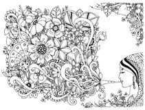 Kvinna för vektorillustrationzentangl, flickaflöjt med blommor Färga anti-spänning svart white Vuxna färgläggningböcker Royaltyfri Fotografi