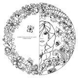 Kvinna för vektorillustrationzentangl i en rund ram med blommor Flickan, cirkel, bi för klotterståendezenart vektor illustrationer