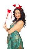 kvinna för wand för fjärilsholding magisk Royaltyfria Foton