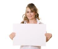 kvinna för white för avstånd för brädekopieringsholding Arkivfoto