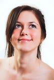 kvinna för white för stående för härlig brunett för bakgrund ny Arkivbilder