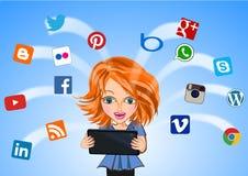 Kvinna förbindelse till det sociala massmediabegreppet vektor illustrationer