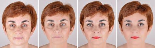 Kvinna före och efter som applicerar smink och att retuschera för dator royaltyfria bilder