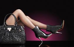 kvinna för foto för modehandväskaben sexig royaltyfria bilder