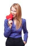 kvinna för gnagande hjärta för affär röd plattform Arkivfoton