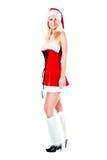 kvinna för julklänning s santa Arkivfoton