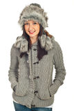 kvinna för vinter för skönhetklädermodell Arkivfoton