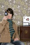 kvinna för band för ree för musik för 8mm biomultimedior öppen Arkivbilder
