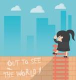 Kvinna för begreppstecknad filmaffär ut som ser världen Arkivbild