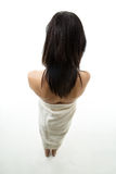 kvinna för handduk för djupfältfokus grund slapp Arkivbild