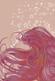 Kvinna framsida med detaljerat hår royaltyfri illustrationer