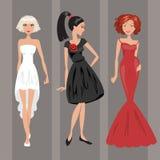 Kvinna i aftonklänning också vektor för coreldrawillustration Royaltyfria Bilder
