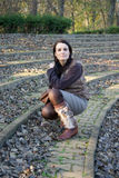 Kvinna i amfiteater Arkivfoto
