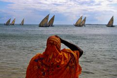 Kvinna i apelsinen - Zanzibar Arkivfoto