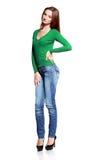 Kvinna, i att posera för jeans fotografering för bildbyråer
