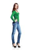 Kvinna, i att posera för jeans arkivfoton
