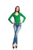 Kvinna, i att posera för jeans arkivbilder