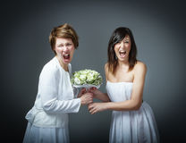Kvinna, i att skrika för bröllopsklänning fotografering för bildbyråer