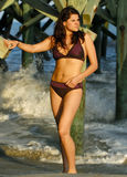 Kvinna i bikini på stranden arkivfoton