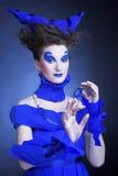 Kvinna i blått Fotografering för Bildbyråer