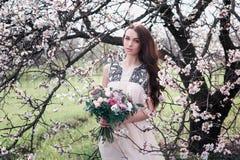 Kvinna i blommande träd Arkivfoton