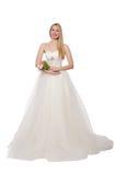 Kvinna i bröllopsklänningen som isoleras på vit Arkivfoto