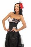 Kvinna i burlesk klänning Royaltyfria Bilder