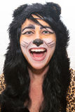 Kvinna i Cat Halloween Costume Arkivbild