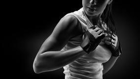 Kvinna, i clothing för sportar arkivfoton