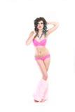 Kvinna i damunderkläder för varma rosa färger Fotografering för Bildbyråer