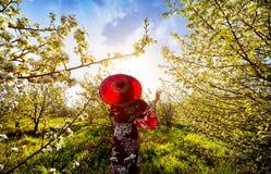 Kvinna i den Japan dräkten på den körsbärsröda blomningen Arkivfoto