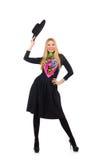Kvinna i den långa svarta klänningen som isoleras på vit arkivfoton